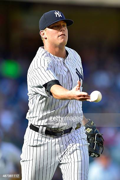 Andrew Bailey of the New York Yankees throws out Brandon Guyer of the Tampa Bay Rays in the ninth inning at Yankee Stadium on September 5 2015 in New...