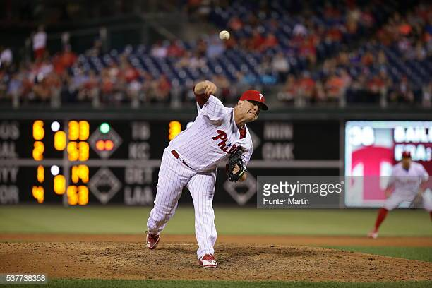 Andrew Bailey of the Philadelphia Phillies during a game against the Washington Nationals at Citizens Bank Park on May 31 2016 in Philadelphia...