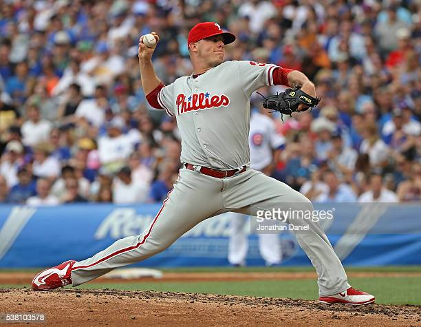 Andrew Bailey of the Philadelphia Phillies pitches against the Chicago Cubs at Wrigley Field on May 27 2016 in Chicago Illinois The Cubs defeated the...