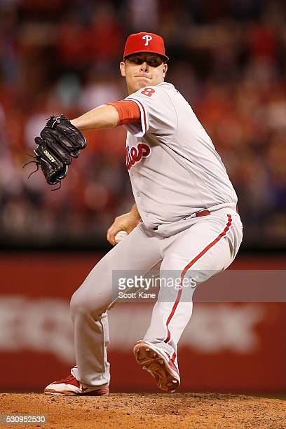 Andrew Bailey of the Philadelphia Phillies pitches during a baseball game against the St Louis Cardinals at Busch Stadium on May 4 2016 in St Louis...