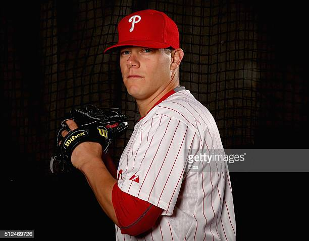 Andrew Bailey of the Philadelphia Phillies poses for a portrait on February 26 2016 at Bright House Field in Clearwater Florida