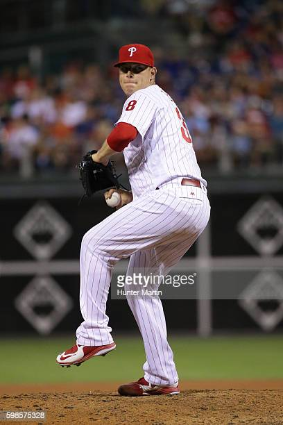 Andrew Bailey of the Philadelphia Phillies throws a pitch during a game against the Miami Marlins at Citizens Bank Park on July 21 2016 in...
