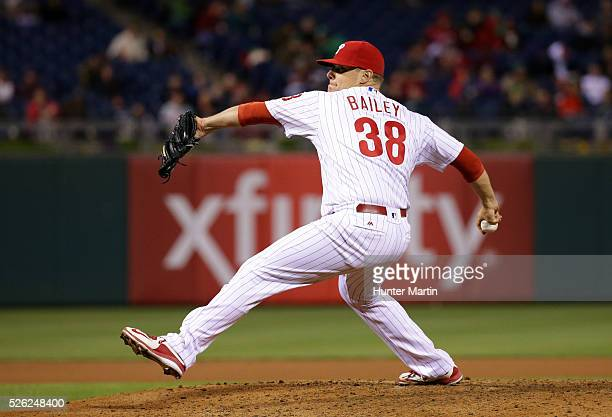 Andrew Bailey of the Philadelphia Phillies throws a pitch in the seventh inning during a game against the Cleveland Indians at Citizens Bank Park on...