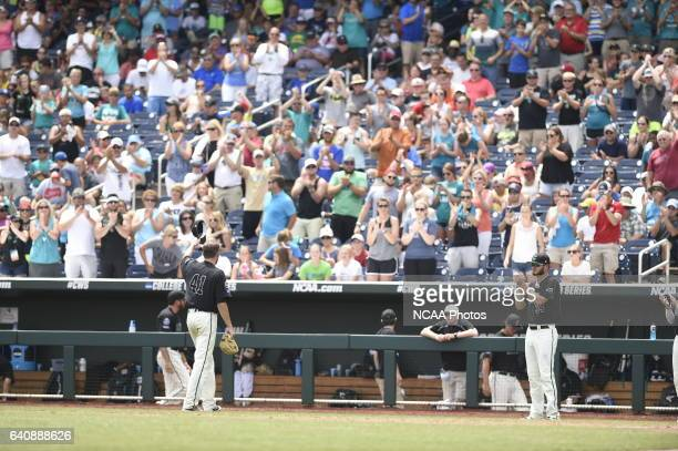 Andrew Beckwith of Coastal Carolina University is replaced in the 6th inning against the University of Arizona during Game 3 of the Division I Men's...