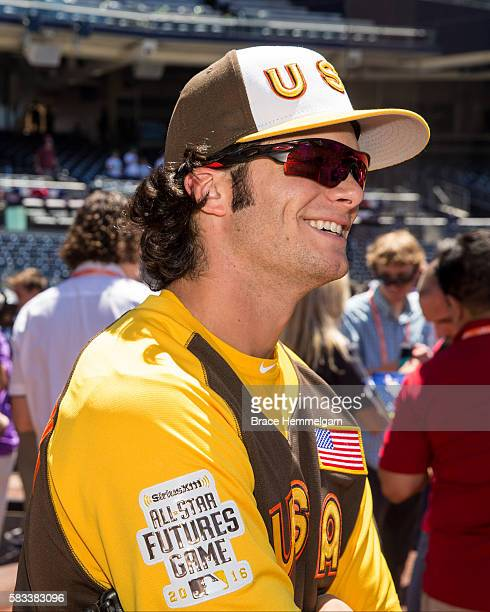 Andrew Benintendi of the Boston Red Sox and Team USA looks on prior to the SiriusXM AllStar Futures Game Petco Park on Tuesday July 10 2016 in San...