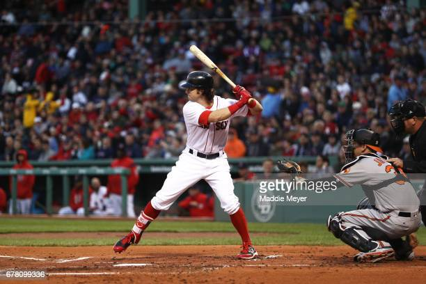 Andrew Benintendi of the Boston Red Sox at bat against the Baltimore Orioles during the first inning at Fenway Park on May 3 2017 in Boston...