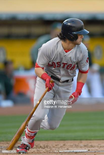 Andrew Benintendi of the Boston Red Sox bats against the Oakland Athletics in the top of the second inning at Oakland Alameda Coliseum on May 19 2017...