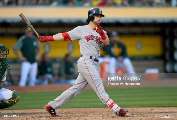 Andrew Benintendi of the Boston Red Sox bats against the Oakland Athletics in the top of the fourth inning at Oakland Alameda Coliseum on May 19 2017...