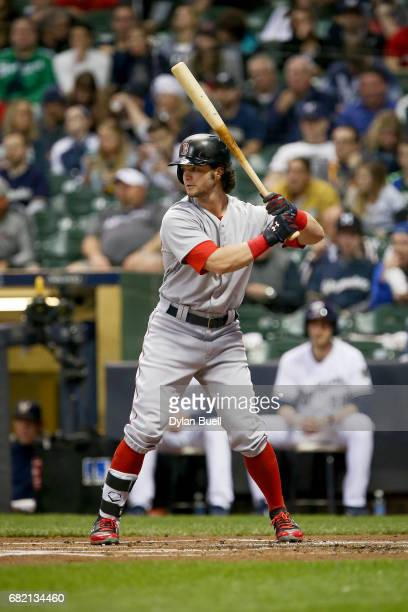 Andrew Benintendi of the Boston Red Sox bats in the first inning against the Milwaukee Brewers at Miller Park on May 10 2017 in Milwaukee Wisconsin