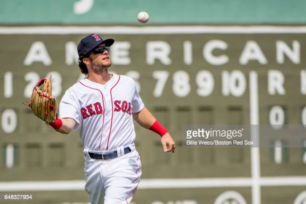 Andrew Benintendi of the Boston Red Sox catches a throw during the first inning of a Spring Training game against the Atlanta Braves on March 5 2017...