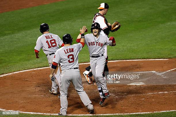 Andrew Benintendi of the Boston Red Sox celebrates after driving in Sandy Leon and Aaron Hill on a three run home run against the Baltimore Orioles...