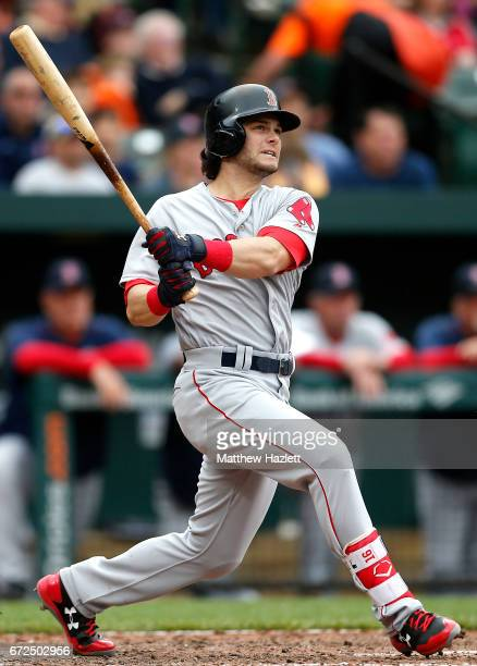 Andrew Benintendi of the Boston Red Sox hits a single against the Baltimore Orioles in the sixth inning at Oriole Park at Camden Yards on April 23...