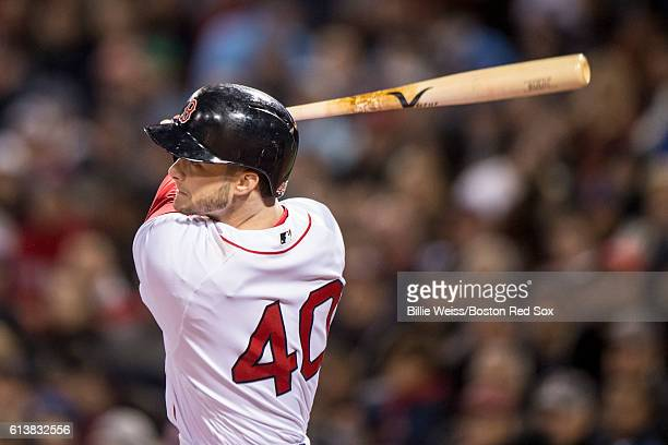 Andrew Benintendi of the Boston Red Sox hits an RBI double during the fifth inning of game three of the American League Division Series against the...