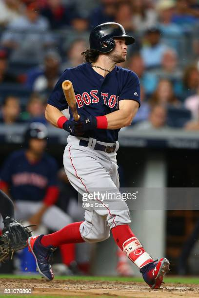 Andrew Benintendi of the Boston Red Sox in action against the New York Yankees at Yankee Stadium on August 11 2017 in the Bronx borough of New York...