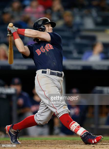 Andrew Benintendi of the Boston Red Sox in action against the New York Yankees during a game at Yankee Stadium on August 31 2017 in the Bronx borough...