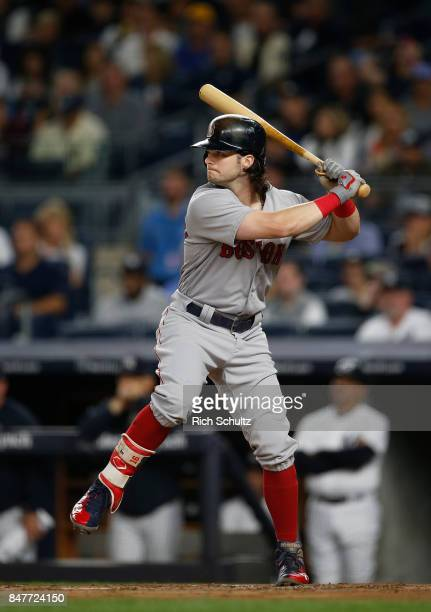 Andrew Benintendi of the Boston Red Sox in action against the New York Yankees during a game at Yankee Stadium on September 3 2017 in the Bronx...
