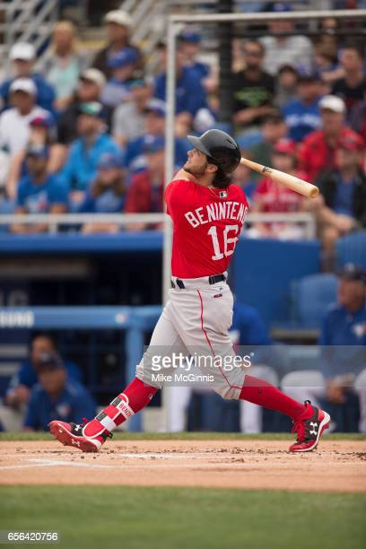 Andrew Benintendi of the Boston Red Sox in action during the Spring Training game against the Toronto Blue Jays at Florida Auto Exchange Stadium on...