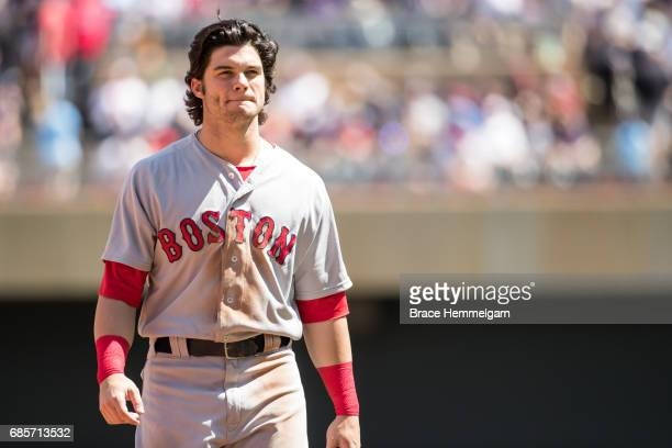 Andrew Benintendi of the Boston Red Sox looks on against the Minnesota Twins on May 6 2017 at Target Field in Minneapolis Minnesota The Red Sox...