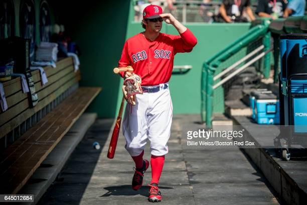 Andrew Benintendi of the Boston Red Sox looks on before a game against the New York Mets on February 24 2017 at Fenway South in Fort Myers Florida
