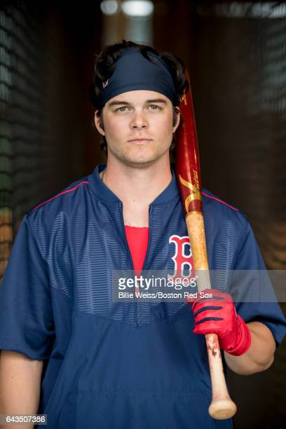 Andrew Benintendi of the Boston Red Sox poses for a portrait during a team workout on February 21 2017 at Fenway South in Fort Myers Florida