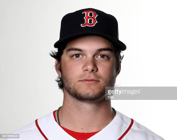 Andrew Benintendi of the Boston Red Sox poses for a portrait during the Boston Red Sox photo day on February 19 2017 at JetBlue Park in Ft Myers...