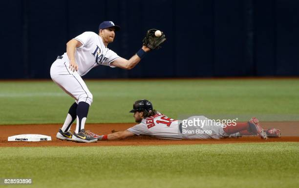 Andrew Benintendi of the Boston Red Sox steals second base ahead of second baseman Brad Miller of the Tampa Bay Rays during the first inning of a...