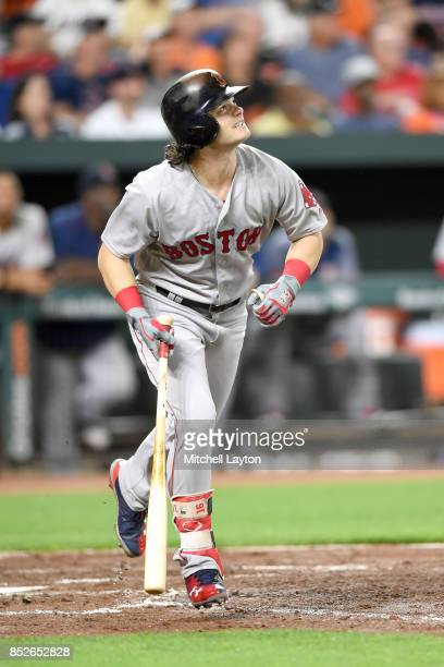 Andrew Benintendi of the Boston Red Sox takes a swing during a baseball game against the Baltimore Orioles at Oriole Park at Camden Yards on...
