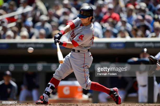 Andrew Benintendi of the Boston Red Sox takes an at bat against the Minnesota Twins during the game on May 7 2017 at Target Field in Minneapolis...