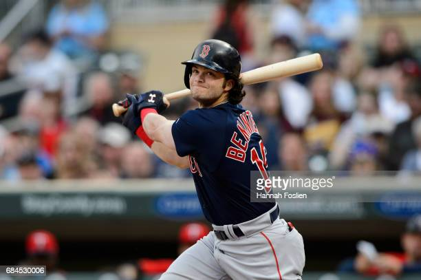 Andrew Benintendi of the Boston Red Sox takes an at bat against the Minnesota Twins during the game on May 5 2017 at Target Field in Minneapolis...
