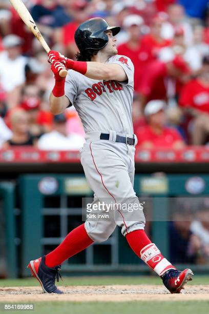 Andrew Benintendi of the Boston Red Sox takes an at bat during the game against the Cincinnati Reds at Great American Ball Park on September 23 2017...
