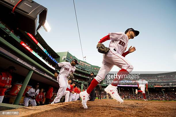 Andrew Benintendi of the Boston Red Sox takes the field against the Cleveland Indians in the first inning of game three of the American League...