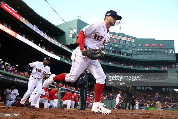 Andrew Benintendi of the Boston Red Sox takes the field prior to Game 3 of ALDS against the Cleveland Indians at Fenway Park on Monday October 10...