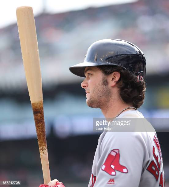 Andrew Benintendi of the Boston Red Sox waits in the dugout during the eight inning of the game against the Detroit Tigers on April 10 2017 at...