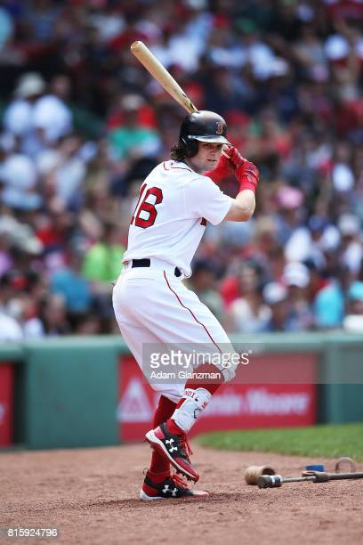 Andrew Benintendi of the Boston Red Sox warms up in the ondeck circle during a game against the Los Angeles Angels of Anaheim at Fenway Park on June...