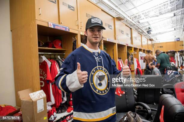 Andrew Benintendi of the Boston Red Sox wears a St Louis Blues jersey for the road trip to Baltimore following a game against the Oakland Athletics...