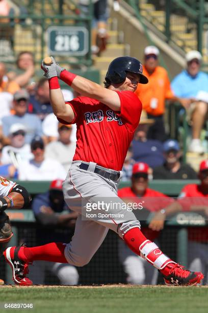 Andrew Benintendi of the Red Sox at bat during the spring training game between the Boston Red Sox and the Baltimore Orioles on March 01 2017 at Ed...