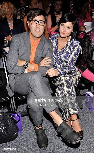 Andrew Bevan and DJ Leigh Lezark attend the Noon By Noor Spring 2014 fashion show during MercedesBenz Fashion Week at The Studio at Lincoln Center on...