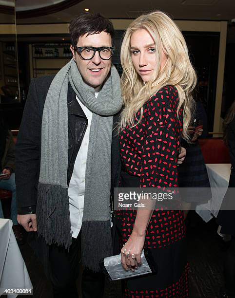 Andrew Bevan and Recording artist Kesha attend the Edie Parker presentation during MercedesBenz Fashion Week Fall 2015 on February 13 2015 in New...