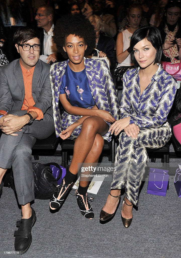 Andrew Bevan, Solange Knowles and Leigh Lezark attend the Noon By Noor Spring 2014 fashion show during Mercedes-Benz Fashion Week at The Studio at Lincoln Center on September 6, 2013 in New York City.