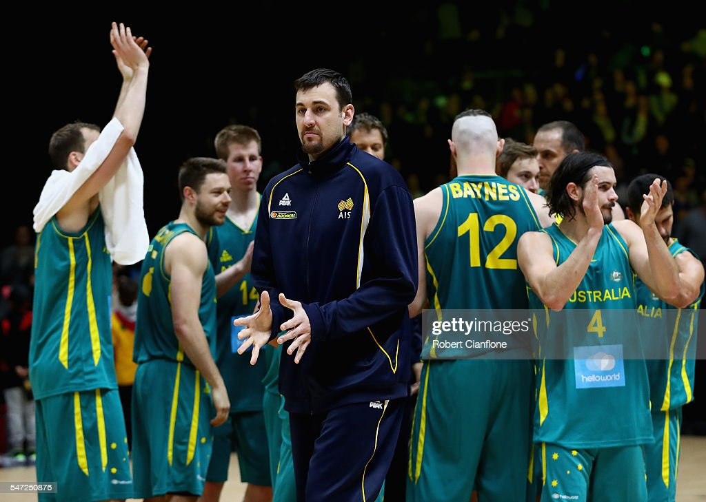 Andrew Bogut of the Boomers looks on after the match between the Australian Boomers and the Pac-12 College All-stars at Hisense Arena on July 14, 2016 in Melbourne, Australia.