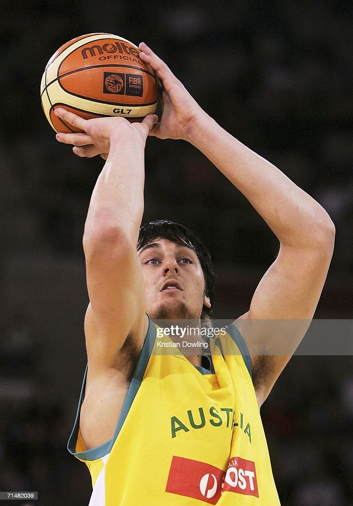 Andrew Bogut of the Boomers shoots a free-throw during the Resi Mortgage Test Series match between the Australian Boomers and the New Zealand Tall Blacks at Vodafone Arena July 19, 2006 in Melbourne, Australia.
