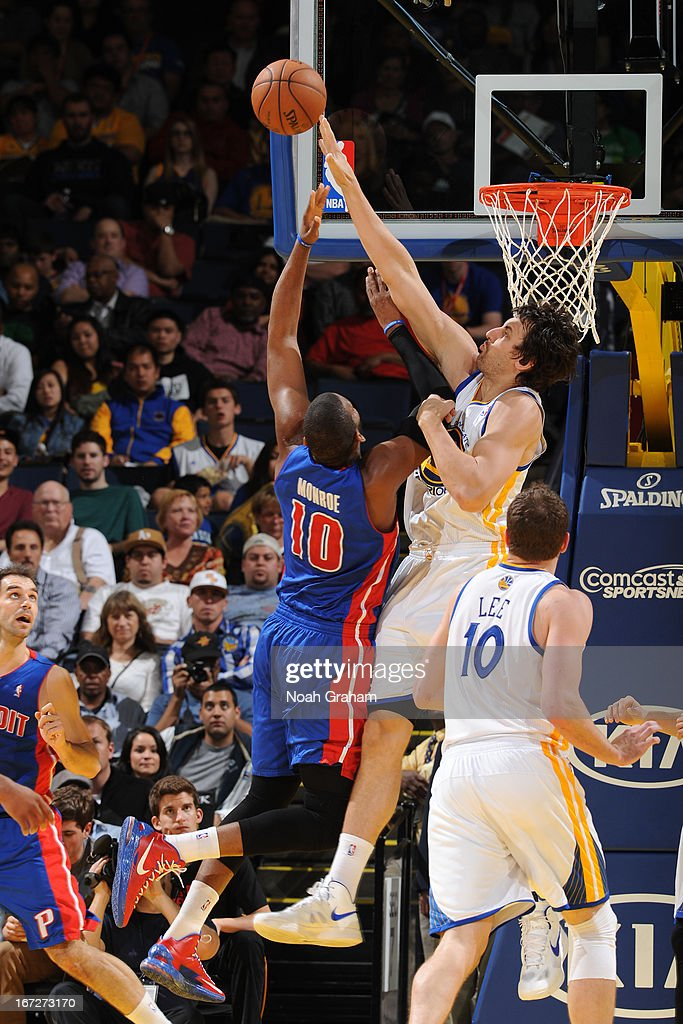 <a gi-track='captionPersonalityLinkClicked' href=/galleries/search?phrase=Andrew+Bogut&family=editorial&specificpeople=207105 ng-click='$event.stopPropagation()'>Andrew Bogut</a> #12 of the Golden State Warriors blocks the shot of <a gi-track='captionPersonalityLinkClicked' href=/galleries/search?phrase=Greg+Monroe&family=editorial&specificpeople=5042440 ng-click='$event.stopPropagation()'>Greg Monroe</a> #10 of the Detroit Pistons on March 13, 2013 at Oracle Arena in Oakland, California.