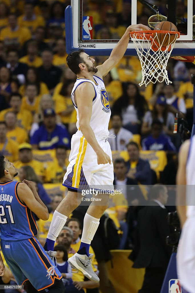 Andrew Bogut #12 of the Golden State Warriors ducks the ball against the Oklahoma City Thunder during Game Five of the Western Conference Finals during the 2016 NBA Playoffs at ORACLE Arena on May 26, 2016 in Oakland, California.