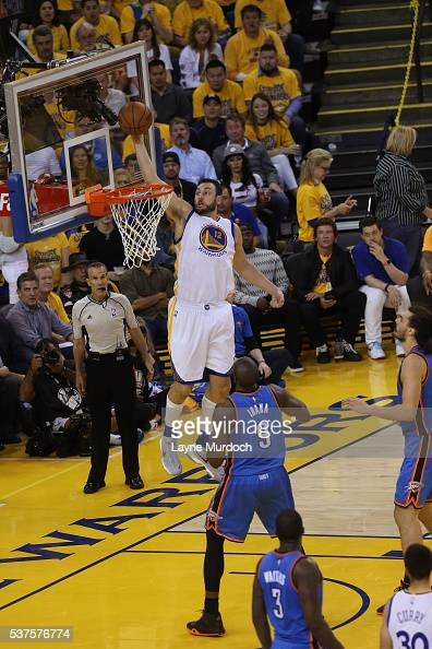 Andrew Bogut of the Golden State Warriors dunks the ball against the Oklahoma City Thunder in Game Five of the Western Conference Finals during the...