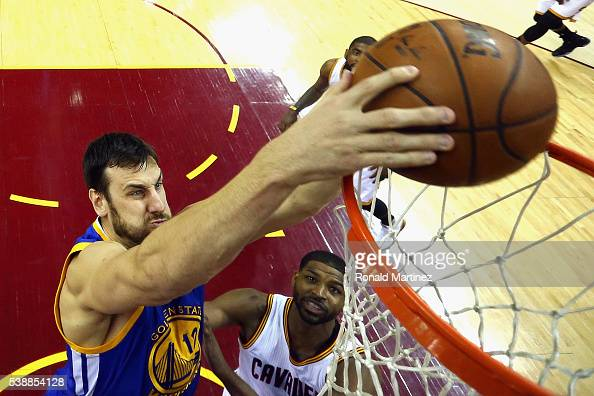 Andrew Bogut of the Golden State Warriors dunks the ball during the first quarter against the Cleveland Cavaliers in Game 3 of the 2016 NBA Finals at...