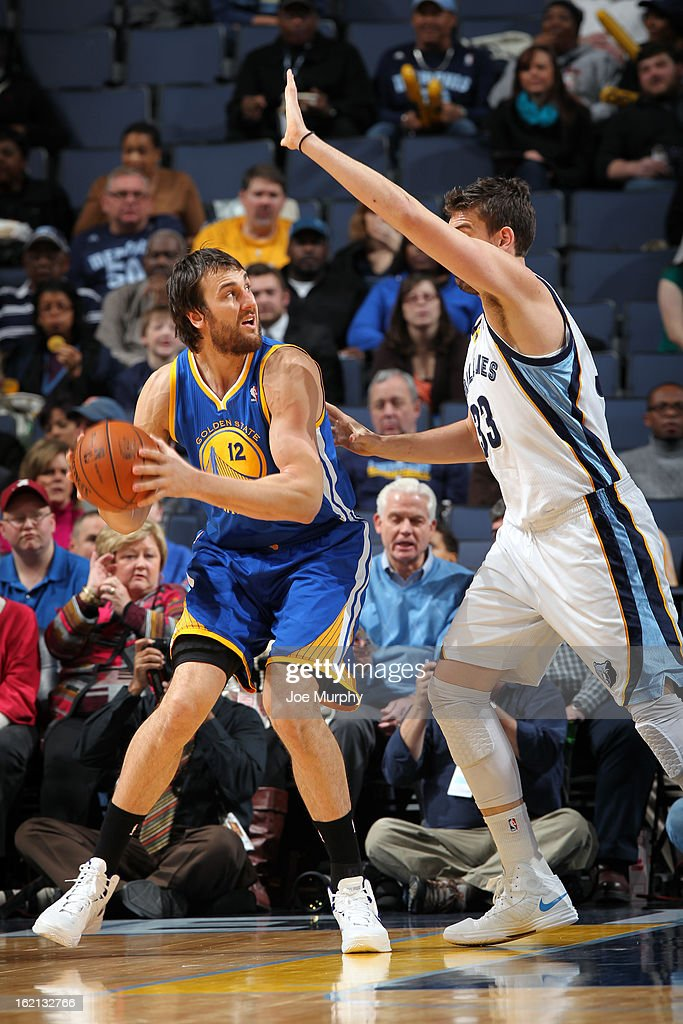 <a gi-track='captionPersonalityLinkClicked' href=/galleries/search?phrase=Andrew+Bogut&family=editorial&specificpeople=207105 ng-click='$event.stopPropagation()'>Andrew Bogut</a> #12 of the Golden State Warriors handles the ball against the Memphis Grizzlies on February 8, 2013 at FedExForum in Memphis, Tennessee.