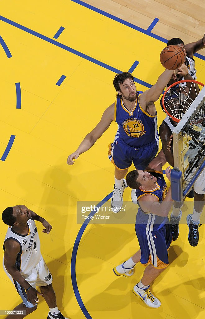<a gi-track='captionPersonalityLinkClicked' href=/galleries/search?phrase=Andrew+Bogut&family=editorial&specificpeople=207105 ng-click='$event.stopPropagation()'>Andrew Bogut</a> #12 of the Golden State Warriors shoots the ball against the Memphis Grizzlies on November 2, 2012 at Oracle Arena in Oakland, California.