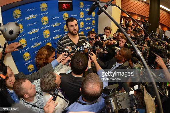 Andrew Bogut of the Golden State Warriors speaks with press after the win against the Cleveland Cavaliers for Game Two of the 2016 NBA Finals on June...