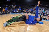 Andrew Bogut of the Golden State Warriors stretches before Game Four of the Western Conference Finals against the Oklahoma City Thunder during the...