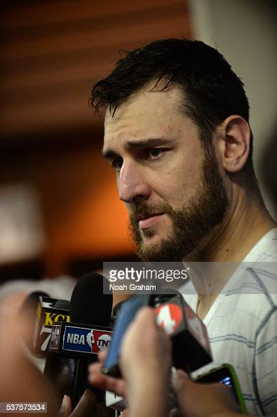 Andrew Bogut of the Golden State Warriors talks to the media after Game Five of the Western Conference Finals against the Oklahoma City Thunder...